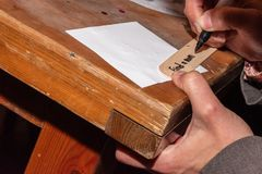 Kvinna som skriver en text för en datumnattkrus royaltyfri fotografi