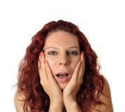 Kvinna som skrämmas eller förvånas Arkivbilder