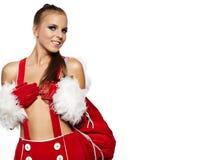 kvinna som slitage den Santa Claus dräkten Arkivbilder