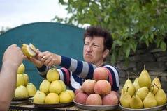 Kvinna som säljer frukter vid vägrenen, Ukraina Royaltyfria Bilder