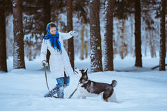 Kvinna som spelar med hunden Arkivfoto