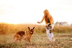 Kvinna som spelar med hunden Royaltyfri Fotografi