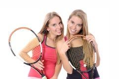 Kvinna som spelar tennis Royaltyfria Foton