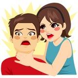 Kvinna som stryper mannen vektor illustrationer