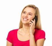 Kvinna som svarar den smarta telefonen Arkivbild