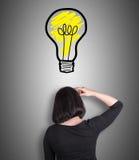 Kvinna som tänker om nya idéer Arkivbild