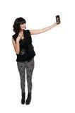 Kvinna som tar en selfie Arkivfoto