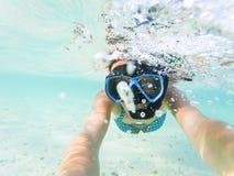 kvinna som tar en undervattens- selfie, medan snorkla i kristallklart tropiskt vatten fotografering för bildbyråer