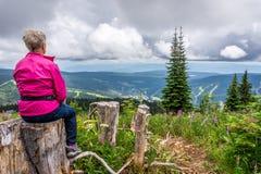 Kvinna som tar en vila på en vandring på Tod Mountain Royaltyfri Fotografi
