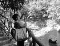 Kvinna som tar fotoet med mobiltelefonen, svartvit bild arkivfoton