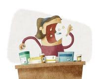 Kvinna som tar mycket olika preventivpillerar Royaltyfri Illustrationer