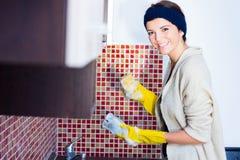 Kvinna som tvättar disken Royaltyfri Bild
