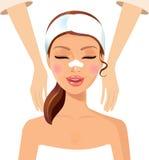 Kvinna som tycker om avslappnande massagebehandlingbegrepp royaltyfri illustrationer