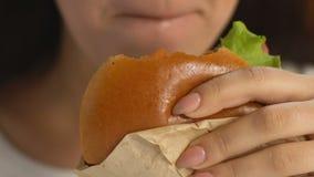 Kvinna som tycker om den fetthaltiga hamburgaren, skräpmatböjelse, kalorier och genomdränkt fett stock video