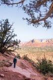 Kvinna som tycker om sikten över dalen av den röda öknen i arizona royaltyfri foto