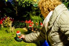 Kvinna som upp väljer en jultomtendocka arkivbilder