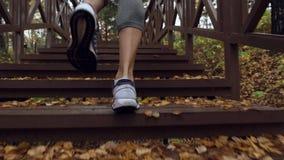 Kvinna som uppför trappan kör på morgonutbildningen lager videofilmer