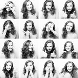 kvinna som utför olika uttryck med henne framsida arkivfoton