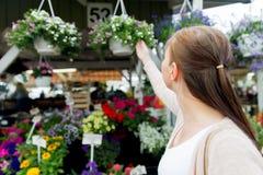 Kvinna som väljer blommor på gatamarknaden arkivbild