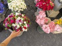Kvinna som väljer en blomma Arkivbild