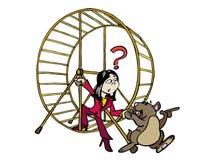 Kvinna som vågar för att få ut ur hamsterhjuljobbet royaltyfri illustrationer