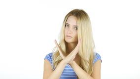 Kvinna som visar inte vid arg handgest, vit bakgrund fotografering för bildbyråer