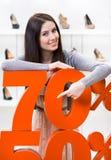 Kvinna som visar procentsatsen av försäljningar på heeled skor Arkivbilder