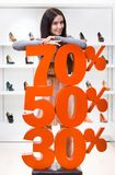 Kvinna som visar procentsatsen av försäljningar på pumpar royaltyfri fotografi