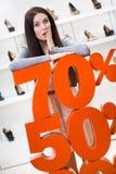 Kvinna som visar procentsatsen av försäljningar på skodon Royaltyfria Foton