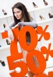 Kvinna som visar procentsatsen av försäljningar på stilfulla skor Royaltyfri Bild