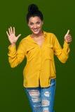 Kvinna som visar sex fingrar Royaltyfri Fotografi