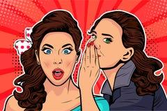 Kvinna som viskar skvaller eller hemlighet till hennes vän Illustration för vektorpopkonst royaltyfri illustrationer