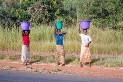 Kvinna tre i Malawi Royaltyfri Foto