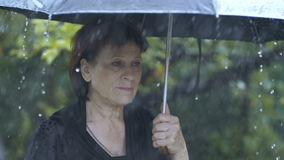 Kvinna under paraplyet på regn lager videofilmer