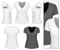 Kvinna v-hals t-shirt Arkivfoto