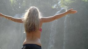 Kvinna vid vattenfallet arkivfilmer