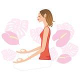 Kvinna - yogafrån sidan-fasadbeklädnad Arkivfoton