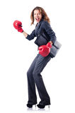 Kvinnaaffärskvinna med boxninghandskar Arkivfoton
