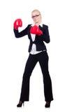 Kvinnaaffärskvinna med boxninghandskar Arkivbilder