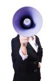 Kvinnaaffärskvinna med högtalaren Royaltyfri Fotografi