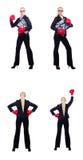 Kvinnaaffärskvinnan med boxninghandskar på vit Royaltyfria Bilder