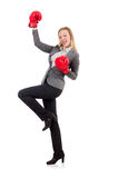 Kvinnaaffärskvinna med boxninghandskar Royaltyfria Bilder