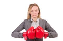 Kvinnaaffärskvinna med boxninghandskar Royaltyfria Foton