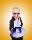 Kvinnaaffärskvinna med högtalaren på vit Royaltyfri Fotografi