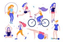 Kvinnaaktiviteter Uppsättning av kvinnor som gör sportar, yoga och att rida cykeln och att åka rullskridskor, jogga som hoppar, k royaltyfri illustrationer