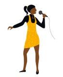 Kvinnaallsång in i mikrofonvektor Fotografering för Bildbyråer