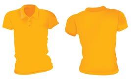 Kvinnaapelsin Polo Shirts Template royaltyfri illustrationer