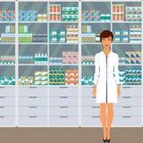 Kvinnaapotekare i ett apotek mitt emot hyllorna med mediciner Vektorillustration i plan stil royaltyfri illustrationer