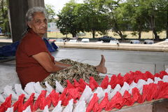 Kvinnaarbetare och handwork i Sri Lanka Arkivbilder