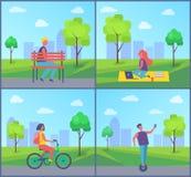 Kvinnaarbete i stad parkerar vektorillustrationen stock illustrationer